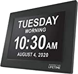 Newest Version, American Lifetime, Day Clock Extra Large Impaired Vision Digital Clock with Battery Backup and 5 Alarm Options, Black