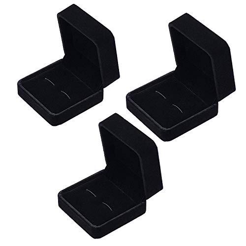 Manschettenknopf-Etui, Samt, klein, dunkel, Black Pack of 3, S