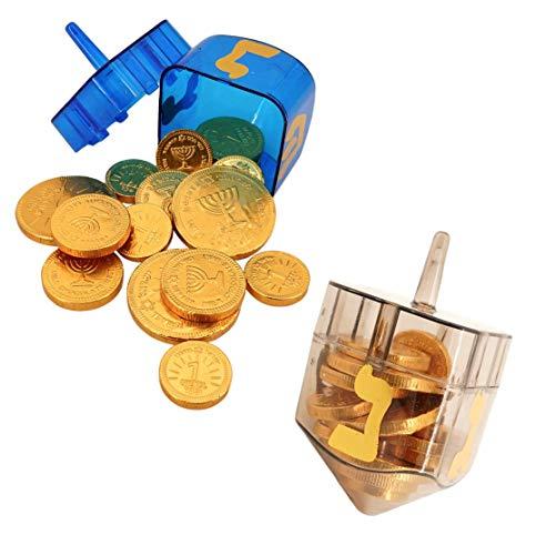 Dreidels filled with Chocolate Gelt Coins Hanukkah Bundle (2 Dreidel Containers and 30 Pcs Gelt) Chanukah OU Kosher Gluten Free
