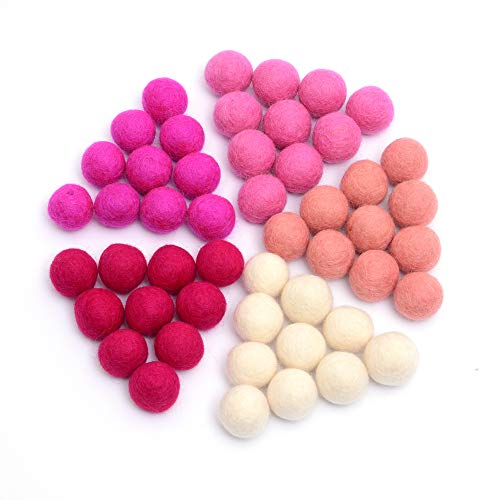 Glaciart One Wool Felt Balls (50 Pieces) 2.5 Centimeters - 1 Inch, Handmade Felted 5 Valentines Colors (Baby Pink, Medium Pink, Magenta and More) - Bulk Small Puff for Felting and Garland