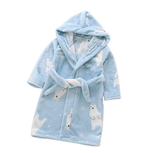 DEBAIJIA Bebé Albornoz 0-14T Infantil Baño Bata de Casa Recién Nacido Noche Ropa de Dormir Niños Pijama Niña Niño Unisexo(Azul Claro-90)