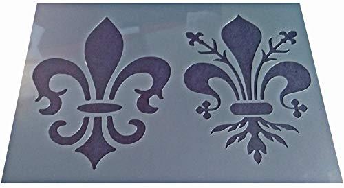 1 x Vintage-Schablone im Shabby-Chic-Stil, Kunststoff, 2 Stile, Lilie, LYS, Bastelschablone (A4, 297 x 210 mm)