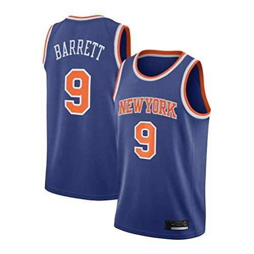 Men's Trail T-Shirt Knicks Barrett 9# Jersey RJ Youth Icon Edition Swingman Jersey Short Sleeve Sport Top (Blue, S)