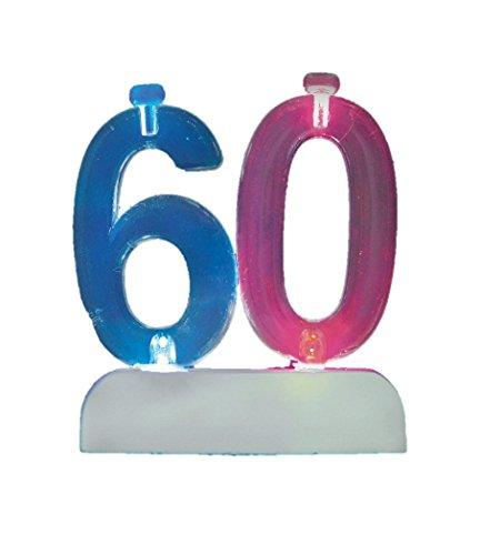 Unique Party 37546 - Candela di Compleanno Numero 60 Cambia Colore Lampeggiante Portacandela Con 4 Candele
