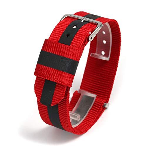 JSDDE Nylon NATO Uhrenarmband Textil Uhrenband Reflektierende Uhrband Sport Militär Ersatzarmband mit Edelstahl Dornschließe 20mm Watch Strap (Rot)
