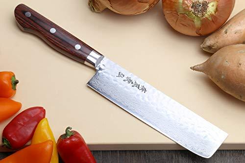 Yoshihiro VG-10 16 Layer Hammered Damascus Stainless Steel Nakiri Vegetable Knife