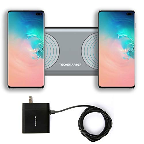 Techsmarter 15W (30W Max) Fast Charging Dual Wireless Charger Pad, Qi Certified. Compatible with Apple iPhone 12, 11, X, XR, XS, 8 Samsung Galaxy S7, S8, S9, S10, Note, LG V30, V35, V40, G6, G7,G8
