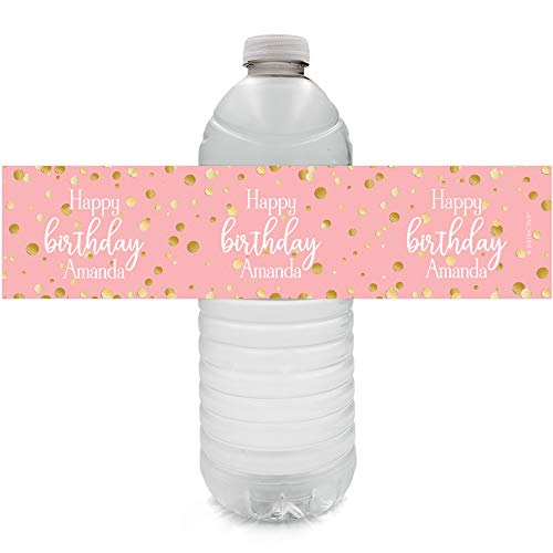 Personalized Pink and Gold Birthday Water Bottle Labels - 12 Stickers