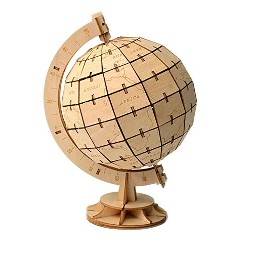 Globe 3D Wooden Puzzle,3D Assembly Wooden Jigsaw Diy Crafts Kit Diy Toy Model Building Kits Educational Toy For Kids