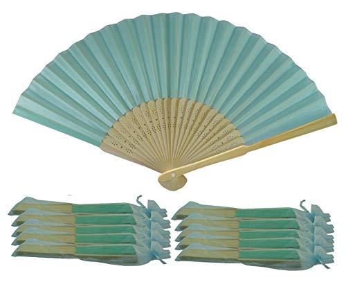 Rangebow SHF09 Turquoise 10 Commerce de gros en soie élégant Éventail en bambou cadeau mariage faveur de la cage thoracique