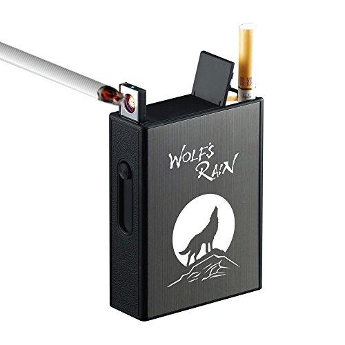 Zigarettenetui mit integriertem Anzünder, Metall, für eine Packung mit 20Standard-Zigaretten, USB, elektrisches Feuerzeug, wiederaufladbar, flammenlos, tragbar, winddicht, ohne Gas wolf