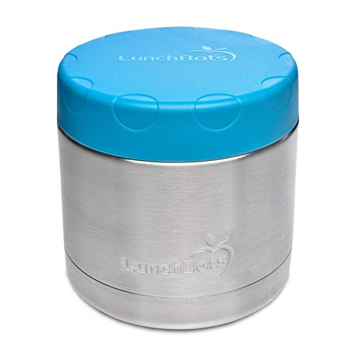 LunchBots Große Thermal 470 ml Edelstahl Schüssel – Isolierter Nahrungsmittelbehälter hält 6 Stunden lang heiß oder 12 Stunden lang kalt – Auslaufsicherer Suppenbehälter – Aqua