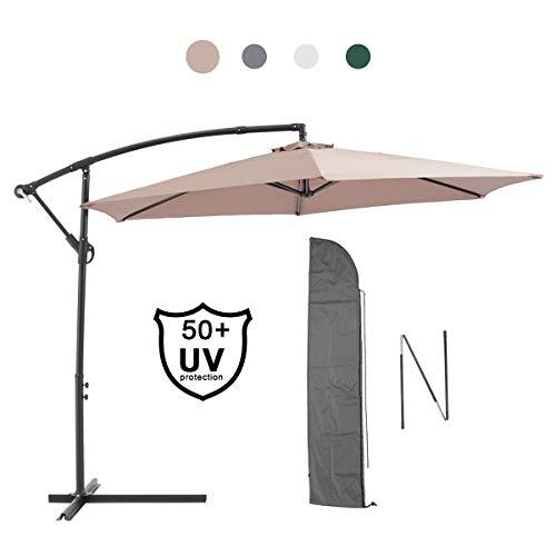 petit un compact Parasol de jardin décentralisé Laxllent, parasol de déportation Ø300cm + housse de protection, aluminium,…