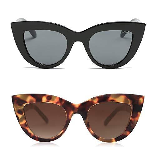 SOJOS Gafas de sol retro vintage Cateye para mujer, UV400, lentes espejadas, 2 unidades, SJ2939, Negro/Gris y tortuga/marrón, Mediano