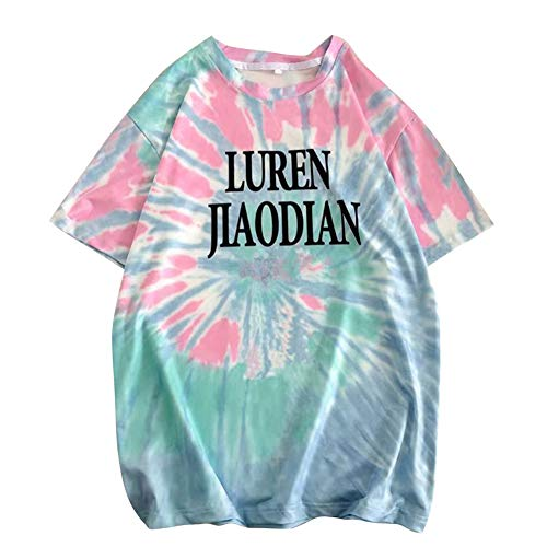 Metermall Fashion For Men Summer T-shirt Short Sleeve Tie-dye Letter Crew Neck Loose Casual Couple Wear Tops