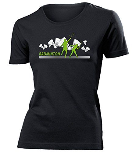 Badminton Fan 4448 Sport Shirt Tshirt Fanartikel Fanshirt Frauen turniershirt Shop Sportbekleidung Damen T-Shirts Schwarz L