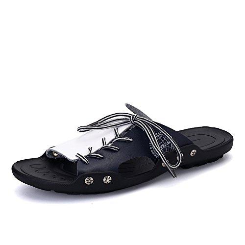 Yaunli Sandalias de Ducha para Hombre Antislip Zapatillas Verano Hombres PU Cuero Vintage Cómodo Duradero Casual Respirable Chanclas caseras Ducha cómoda Zapato de Playa (Color : Black, Size : 40)