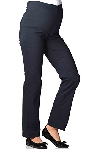 Christoff Femmes Coupe Straight-Leg Stretch Pantalon de Grossesse Style d'affaires - Marine (Bleu), 46