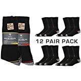 Iron Mountain Workwear Mens Padded Heel Toe Comfortable Heavy Duty Work Socks 12 Pack, Black, One Size (6-11/EU 39-45), IMSCK221