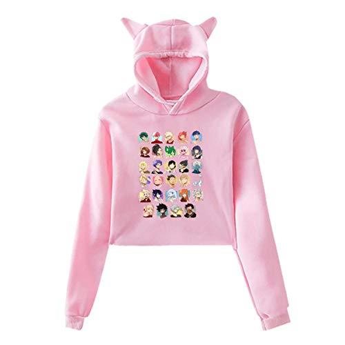 Trumpinginging My Hero Academia Zuku Midoriya Todoroki Shoto Women's Cat Ear Hoodie Pink