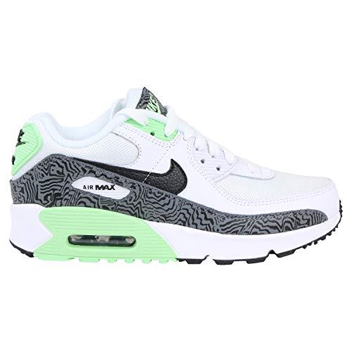 Nike Kids (GS) Air Max 90 Running Shoe, White/Black-Vapor Green, 4 Big Kid