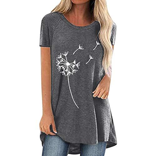 Guanghuansishe Damen T-Shirt Sommer Kurzarm Oberteile Blumen Motiv Tunika Shirt Pusteblume Drucken Lose Rundhals Tshirt Bluse Top Langarmshirts Frühjahr Sommer Pullover Rundhals-T-Shirt (L, Gray-1)