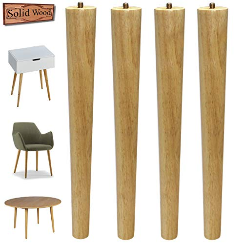 Sopicoz Table Legs 16 inch Wood Furniture Legs for Coffee Table End Table Mid-Century Modern DIY Furniture Tapered Natural Threaded 5/16'' Hanger Bolts Pack of 4