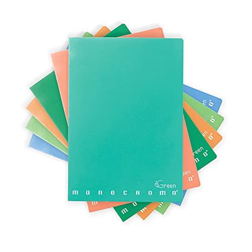 Pigna 02309781R Quaderni Maxi Monocromo Green 80 Pagine, Righe senza Margine, Confezione da 10