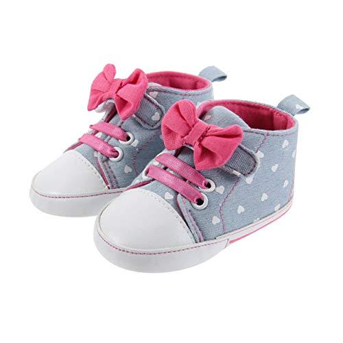 DEBAIJIA Kleinkind Schuhe Baby Mädchen Baumwolle Babyschuhe Sneakers mit weichen und rutschfesten Sohle Für 6-18 Monate Gummiband und Klettverschluss Slip-On-Verschluss Schleife