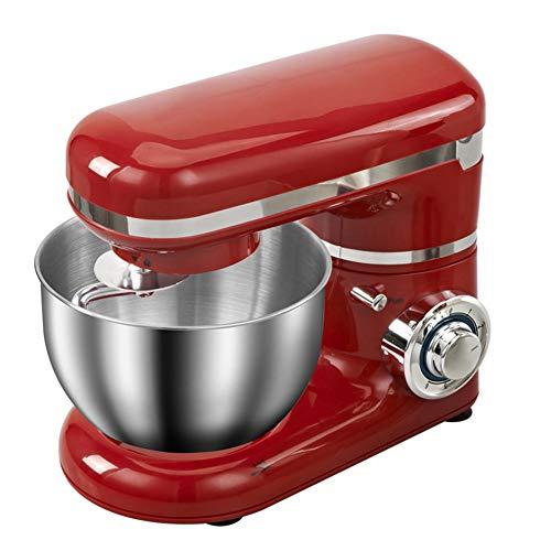 BCXGS Batidora Amasadora, 1500W 6 Niveles de Velocidad Amasadora de Bajo Ruido para Repostería, Robot de Cocina Automática Multifuncional, 5 litros Capacidad Amasadora, Color Rojo