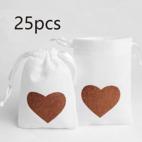 DAHI Jutesäckchen 25 Stück - Natur Säckchen Geschenksäckchen, Jute Sack, Jute Beutel (Herz jutesaeckchen)