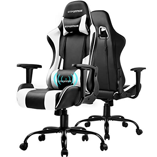 GTPOFFICE Gaming Chair Massage Office Computer Chair for Adult Reclining Adjustable Swivel Leather Computer Chair High Back Desk Chair Headrest and Massage Lumbar Support Cushion(White)