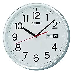 Seiko Wall Clock, Silver, 30.3 x 30.3 x 5