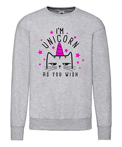Druckerlebnis24 Unicorn As You Wish - Sudadera para mujer gris XXL
