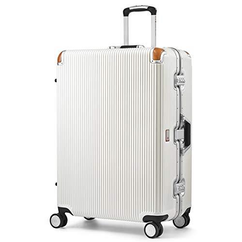[スイスミリタリー] Premium プレミアム スーツケース Type C アルミフレームタイプ 天然皮革プロテクター TSAロック 軽量 傷防止 一年保証 [SWISS MILITARY]/Lサイズ 28インチ 105L ホワイト(SM-C628N/V