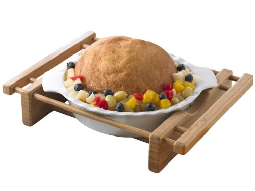 """Creative Home Grand Buffet 10"""" Pie Pan Stoneware Dish with Bamboo Cradle"""