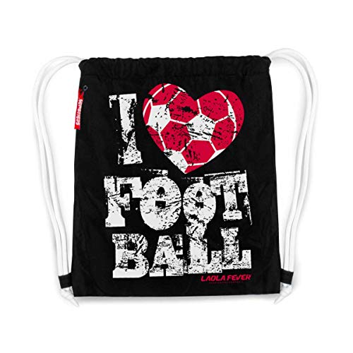 LAOLAFEVER® Fußball Tasche I Love Football I A BRAYCE® Collaboration (Gymsack mit Seitentasche)