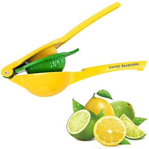 Exprimidor manual de limón United - Hecho de aluminio – Exprimidor de cítricos – Diseño único con 2 cuencos incorporados en un exprimidor de limones – Exprimidor de limones