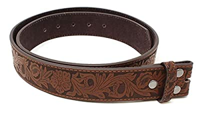 """Womens Leather Belt Strap with Embossed Western Flowers Pattern 1.5"""" Wide with Snaps (Brown-S)"""