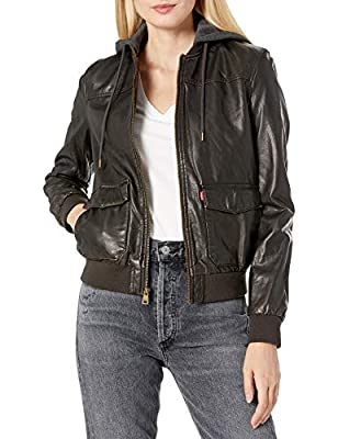 Levi's Women's Two-Pocket Faux Leather Hooded Bomber Jacket with Sherpa, Dark Brown, Large