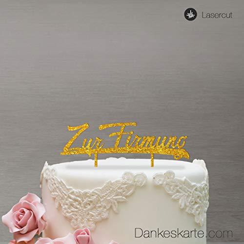 Dankeskarte.com Cake Topper Zur Firmung - für die Torte zur Firmung - Acrylglas Gold Glitzer - XL - Tortenaufsatz, Kuchen, Tortendeko, Tortenstecker, Kuchanaufsatz, Kuchendeko