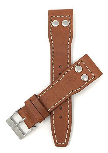 Leder Uhrenarmband 20mm für IWC Pilot, Hellbraun, Nieten, Schließe Edelstahl, auch verfügbar in schwarz und dunkel Hellbraun