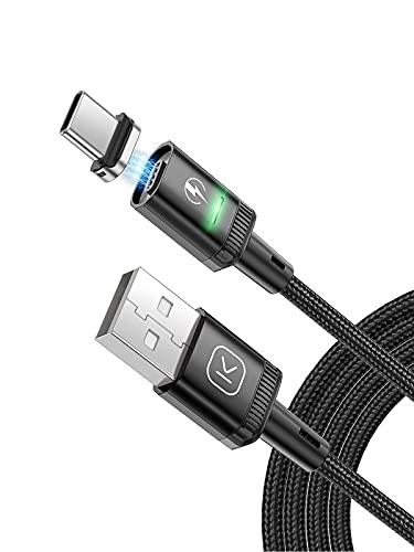 Kuulaa 2 cables de carga magnéticos USB C de 3 A, cable USB magnético con adaptador tipo C, compatible con QC 3.0 de carga rápida, cable magnético de nailon trenzado (negro, 1 m)
