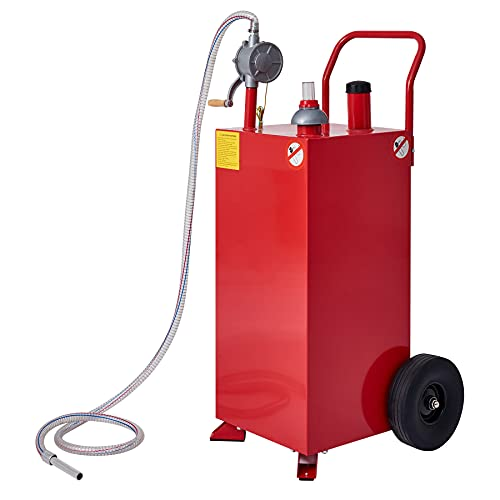 CO-Z 30 Gallon Fuel Tank on Wheels, Portable Gas Caddy with Fuel Transfer Pump and Hose, Heavy-Duty Gasoline Diesel Fuel Storage Container for Cars, Lawn Mowers, ATVs, Boats, Generators, More