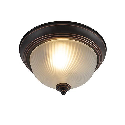 QAZQA Klassisch/Antik/Landhaus/Vintage/Rustikal Klassische Deckenleuchte/Deckenlampe/Lampe/Leuchte braun opal - Classico/Innenbeleuchtung/Wohnzimmerlampe/Schlafzimmer/Küche Glas /
