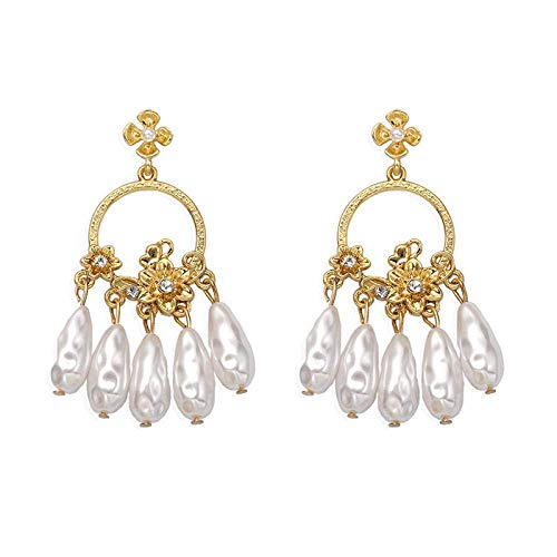 OUHUI Pendientes de Borla de Perlas Imitados en Forma de Gota Antiguos Pendientes de Metal Pendientes Pendientes Mujeres Moda/A