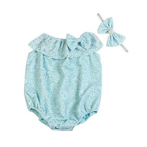 Unique Baby Girls Formal Wear Lace Onesie Romper Headband Set (Baby Blue, 0-6 mo/XS)