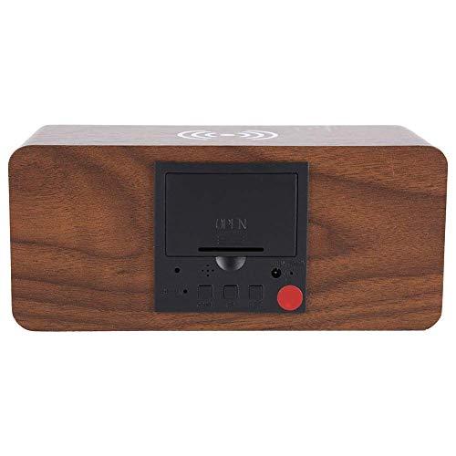 Cargador inalámbrico para teléfono inteligente Reloj de carga inalámbrico, relojes para el hogar, madera 17 x 8 x 7 cm / 6,7 x 3,1 x 2,8 pulgadas para el hogar (letra roja marrón oscuro)