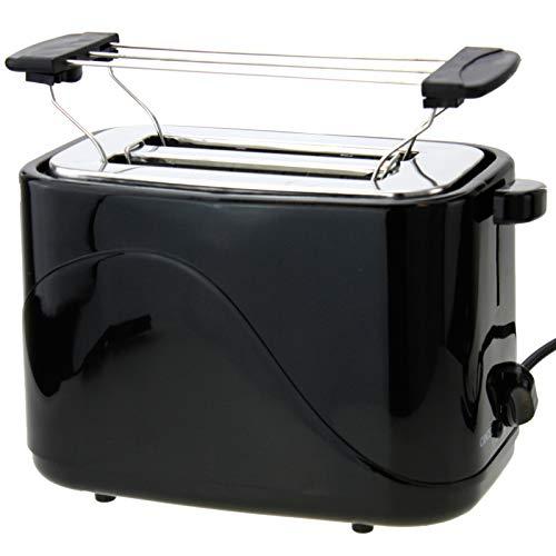 2 Scheiben Toaster 700Watt Doppelt Toast Toastautomat Küchenzubehör inklusive Brötchenwärmer mit Krümelschublade Sandwich Schwarz