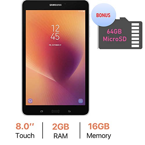 Samsung Galaxy Tab A 8.0'' Touchscreen (1280 x 800) Wi-Fi Tablet, Quad-Core 1.4GHz Processor, 2GB RAM, 16GB Memory, Dual Cameras, Bluetooth 4.2, 64GB MicroSD Card, Android 7.1 OS, Silver